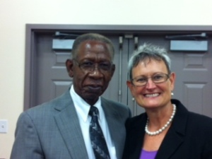 Reverend Amos N. Farquharson with Ginger Martin, President/CEO of American National Bank